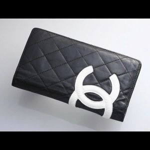 CHANEL CAMBON MATELLASE  BLACK W PINK LONG WALLET